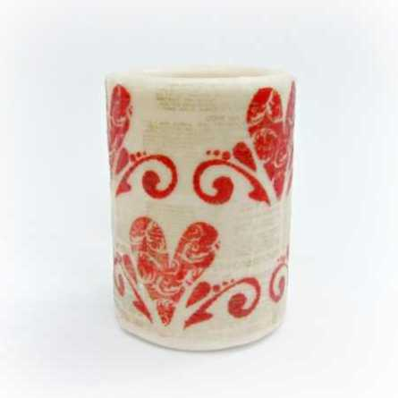 Stamped Valentine Candle @ Craft Gossip