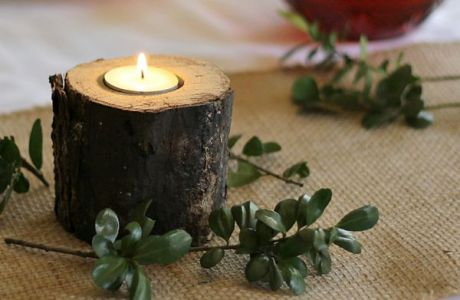 Candle Holders  – Rustic Logs