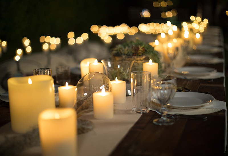 Table Jardin Eucalyptus Real Wax Flameless Led Luminara Pillar Candles Amber Flame