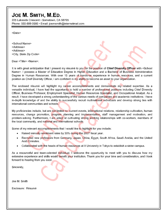 diversity and inclusion cover letter