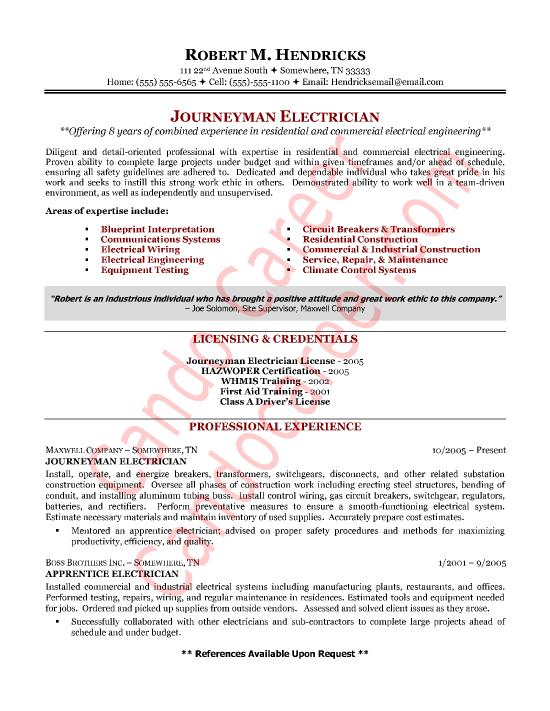 sample electrical resumes
