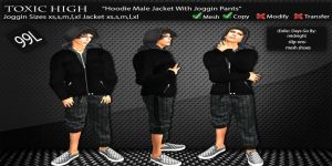 _ToXiC_H_ Male Hoodie [Black Jacket_Dark Grey Plaid Shirt]