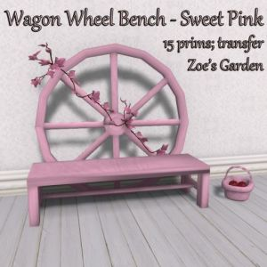 Wagon Wheel Bench - Sweet Pink AD