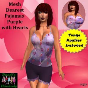 DD Mesh Dearest Pajamas Purple with Hearts