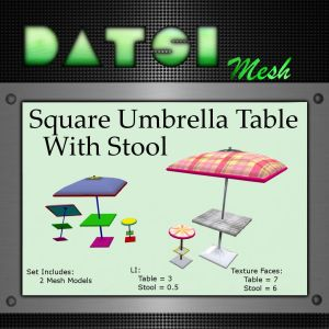 DATSI Mesh - Square Umbrella Table With Stool Vendor Texture
