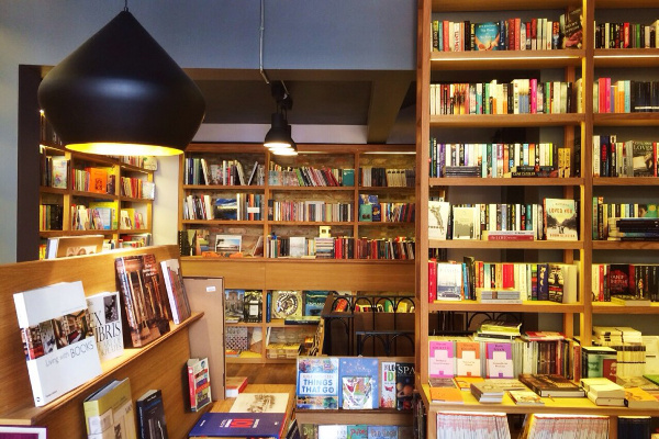 Book shelves at Minoa bookstore