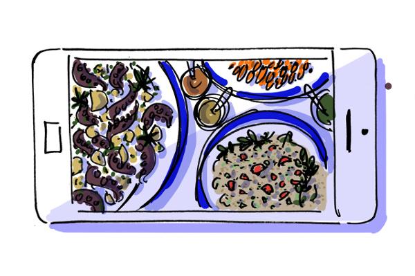 Illustration of an iPhone's view of Turkish mezzes at Sıdıka