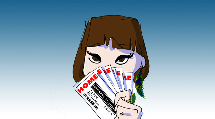 Girl holding tickets for a home concert