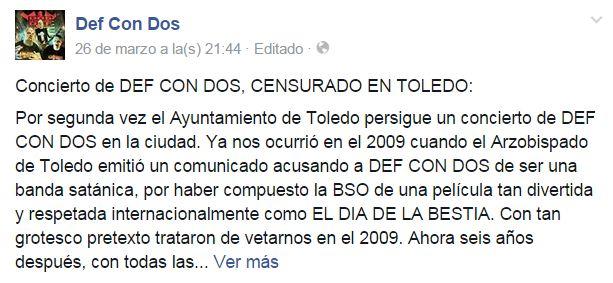 CIBASS Captura del estado de DefConDos en Facebook