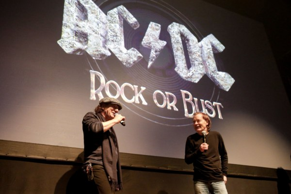 "NEW YORK, NY - NOVEMBER 18:  (L-R) Singer Brian Johnson and guitarist Angus Young of the band AC/DC attend the AC/DC ""Rock or Bust"" CD Listening Party at Webster Hall on November 18, 2014 in New York City.  (Photo by JP Yim/Getty Images)"
