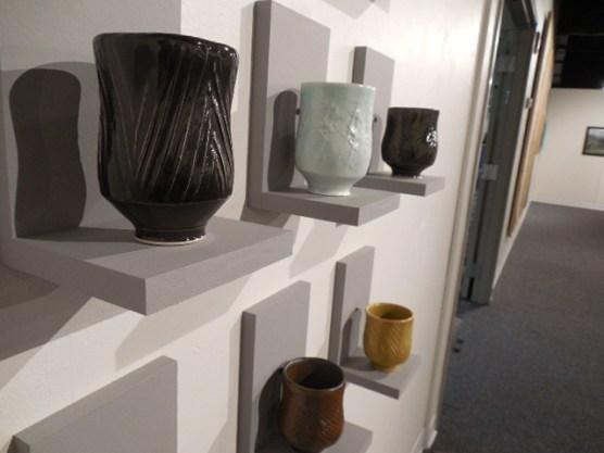 Brian Sarama, five of nine Yunomi teacups. Ceramic.