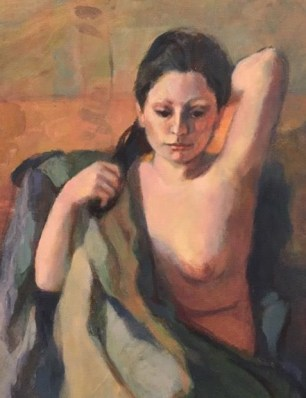 "Detail from Tricia Kaman, ""Anita Brushing her Hair."" Oil."