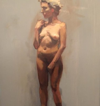 "Detail from Tricia Kaman, ""Standing Nude."""