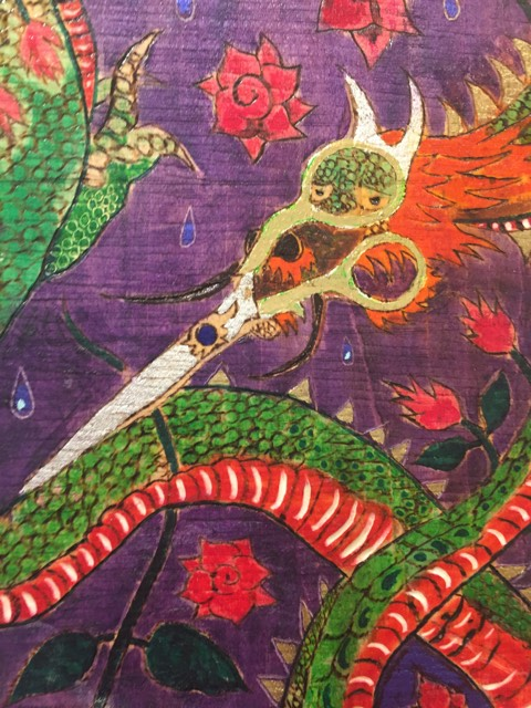 "Gadi Zamir, ""Scissors Head Dragon Trimming May's Flowers,"" burnt wood and mixed media."