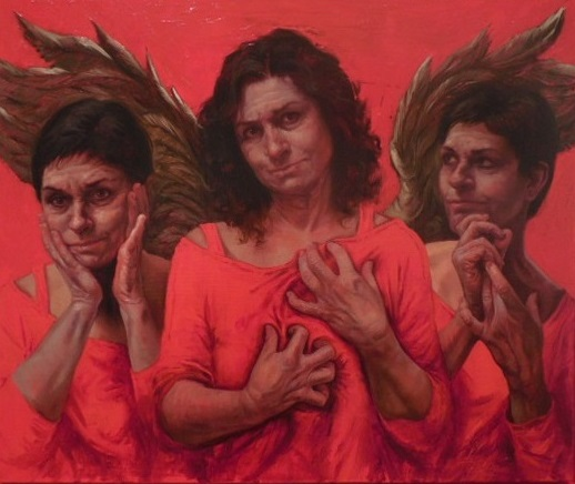 "Judy Takacs, ""Guardian Angel of the Good Death,"" oil on linen."
