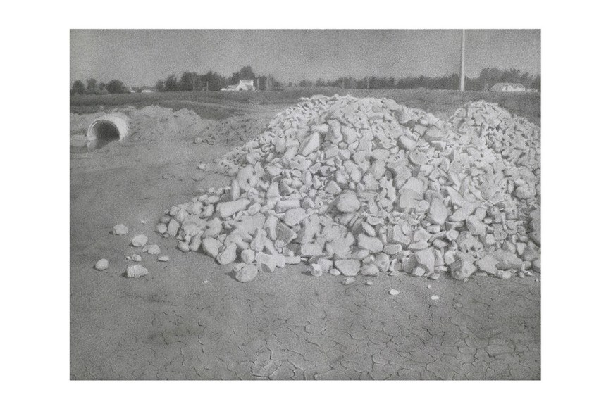 """Stone Piles,"" Charles Kanwischer, graphite on panel"