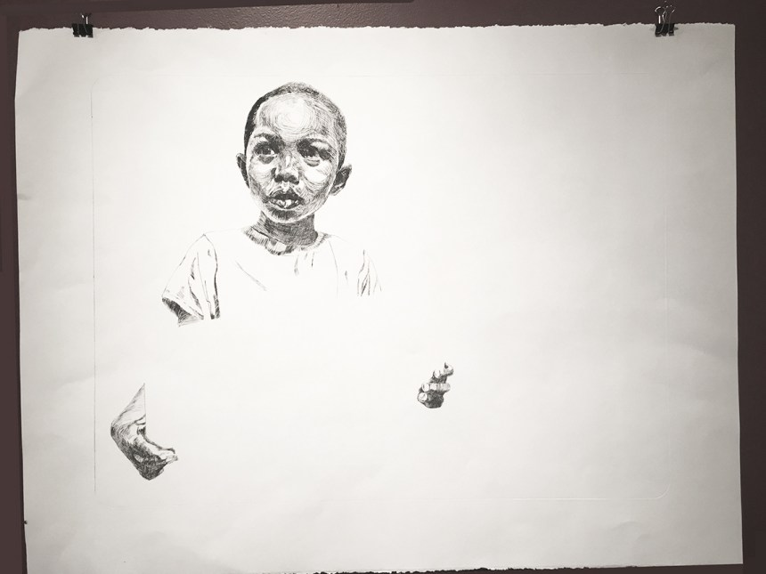 "Darius Steward, ""If You Too Cool You Lose #2,"" Drypoint on wove paper, 22"" x 30"""