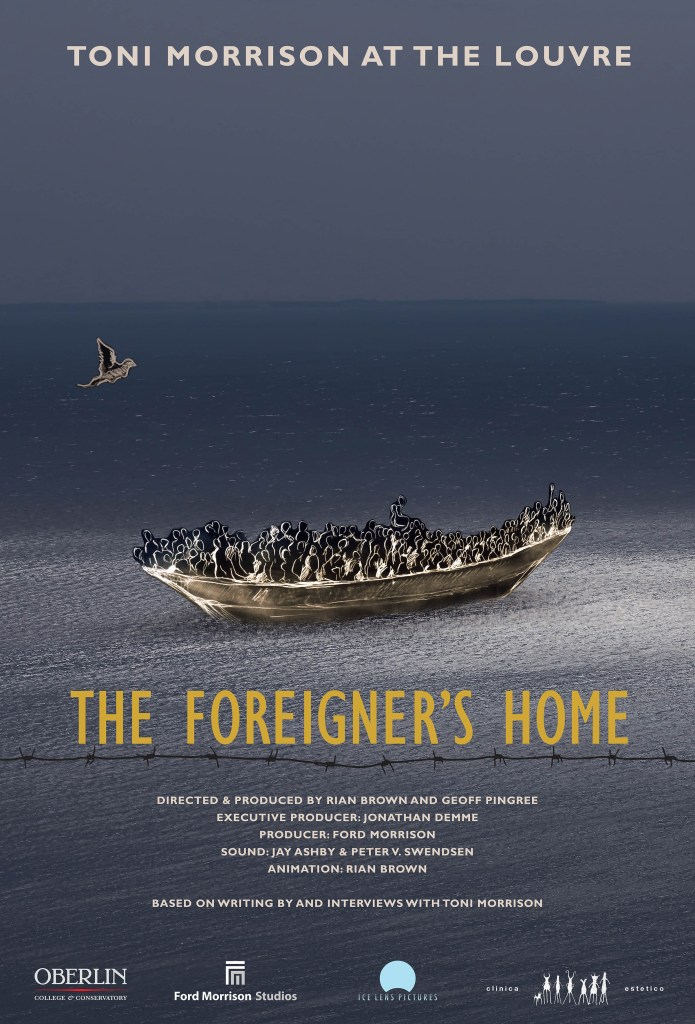 The promotional poster for The Foreigner's Home, designed by Barbara Wolinsky of Trillium Studios, screen printed in an edition of 75 by Rebekah Wilhelm at Zygote Press.