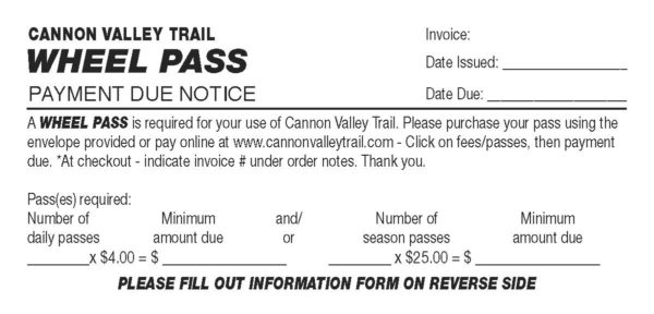 Daily Wheel Pass Payment Due \u2013 Cannon Valley Trail