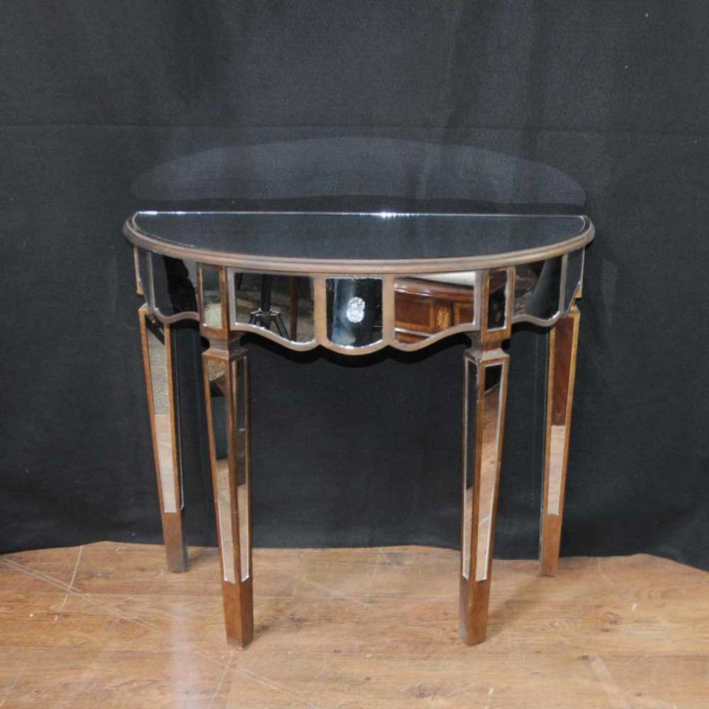 Tables Mirrored Console Table Art Deco Demi Lune Tables