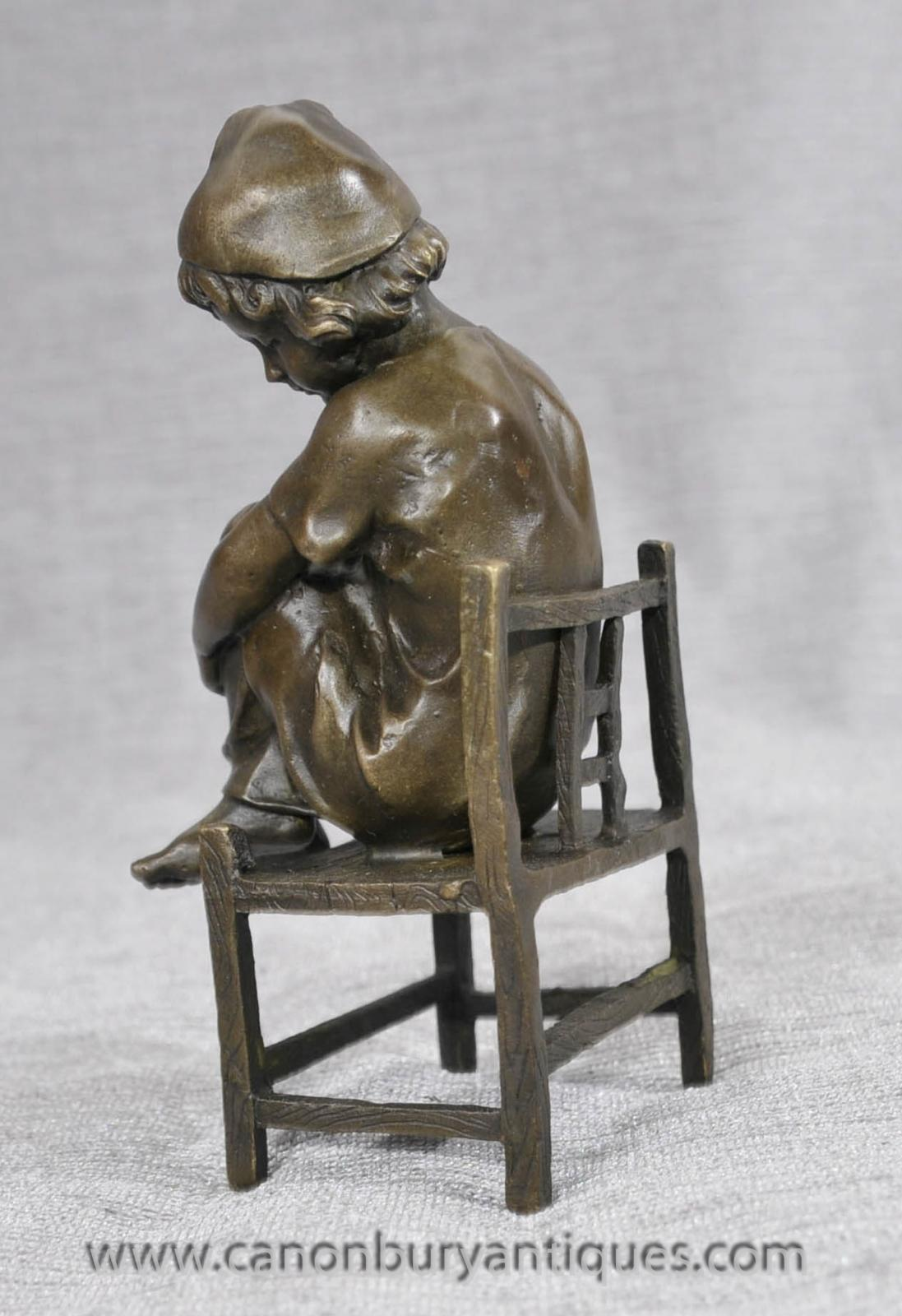 Small Sitting Stools Small French Bronze Child Sitting On Stool Ebay