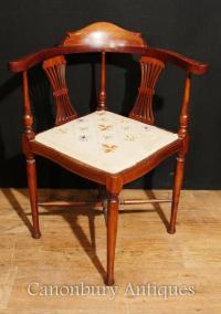 Antique Edwardian Corner Chair Seat Mahogany Inlay 1910   eBay