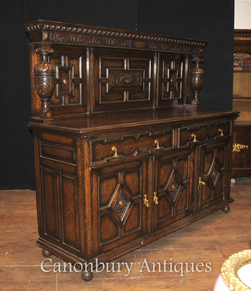 antique oak jacobean sideboard server buffet kitchen furniture view large image add wishlist add compare email friend