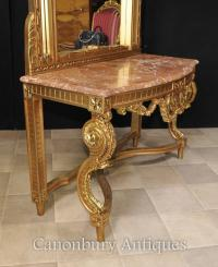 French Empire Gilt Console Table and Mirror Set Hall ...