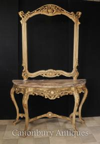 Louis XVI Console Table and Mirror Set Gilt Wood Giltwood ...