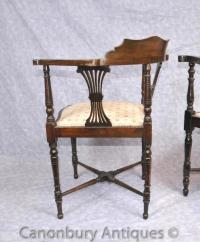 Pair Antique Victorian Corner Chairs Arm Chairs English