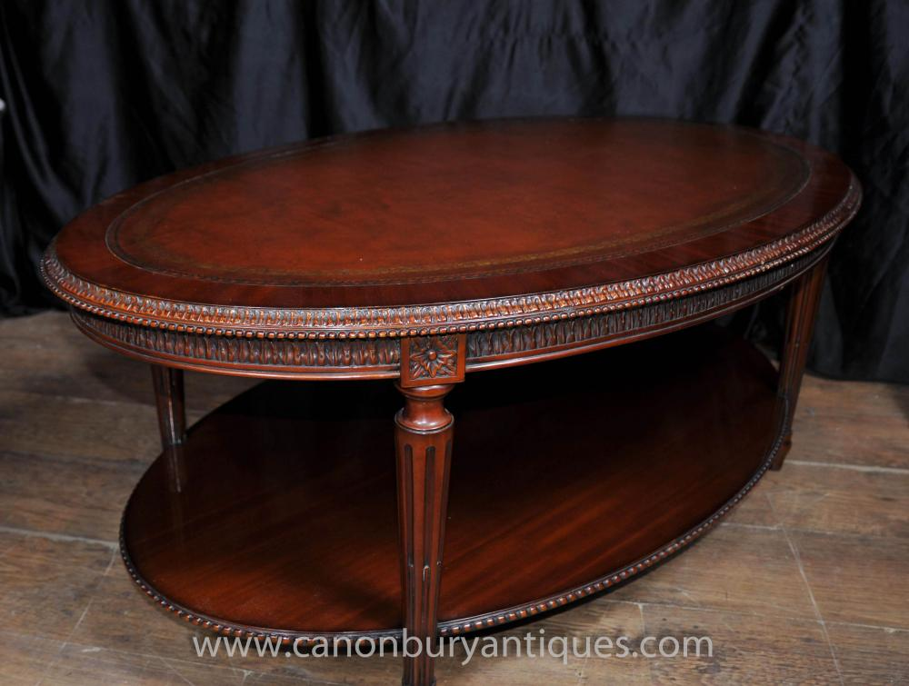 Tables Regency Oval Coffee Table Mahogany Leather Top Tables