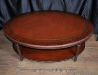 Regency Oval Coffee Table Mahogany Leather Top Tables | eBay