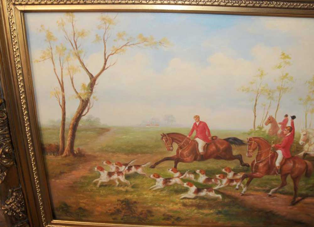 Garden Chairs English Fox Hunt Oil Painting Scene Horse Jocked Victorian Art