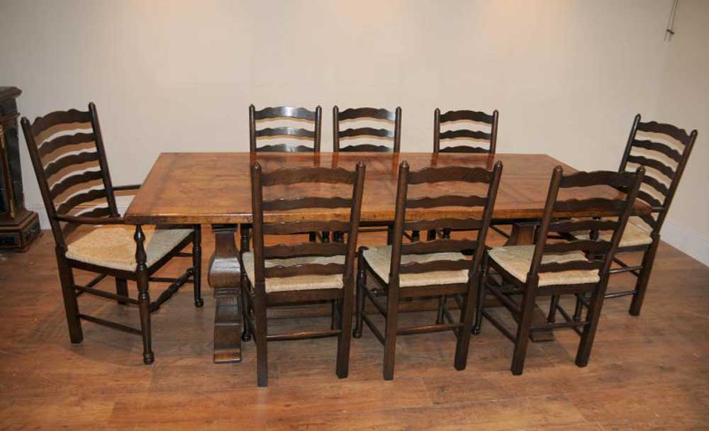 Ladderback Chair Refectory Table Kitchen Dining Set