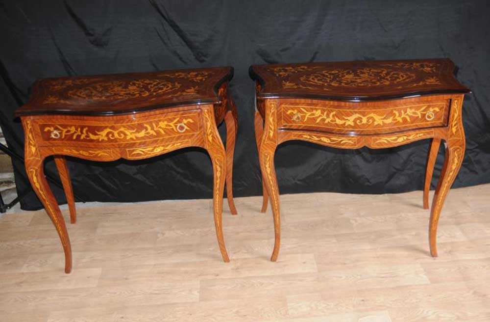 Pair Dutch Marquetry Side Table Commode Hall Tables - Commode Table