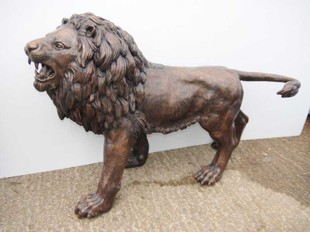 Base Cabinets Pair Lifesize Bronze Lions Lion Statue Cat Gatekeeper