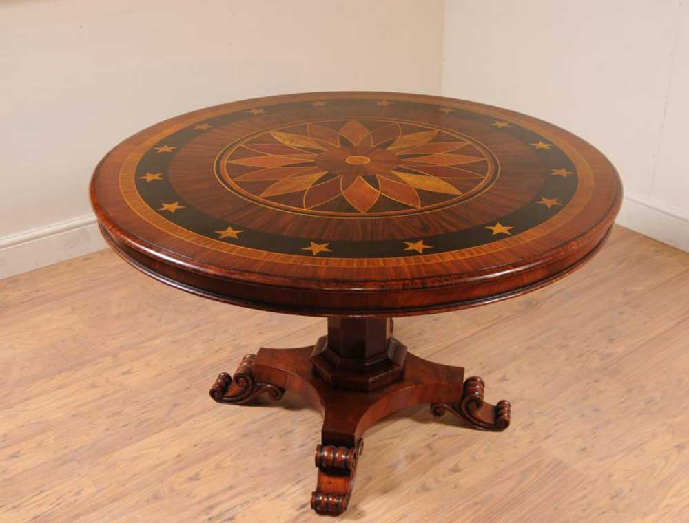 Tables Regency Centre Table Marquetry Inlay Dining Tables