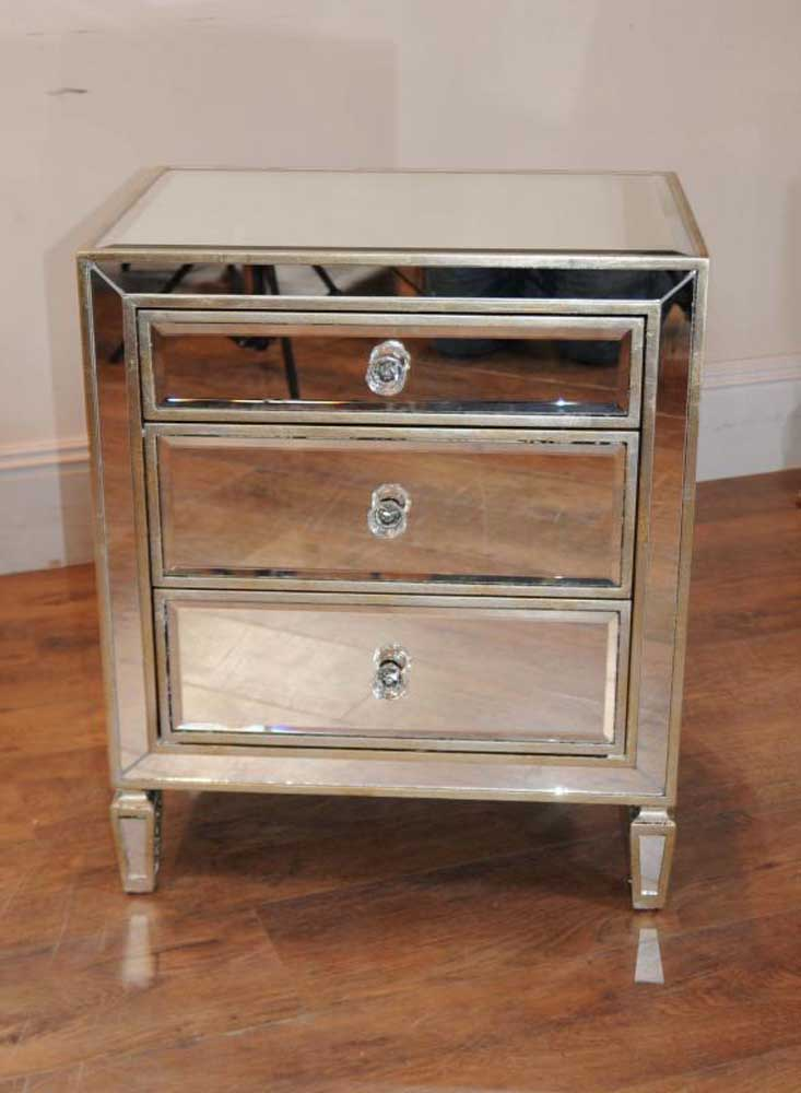 Mirrored Bedside Table Single Mirrored Night Stand Bedside Chest Table