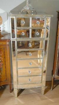 Tall Art Deco Mirrored Chest Drawers