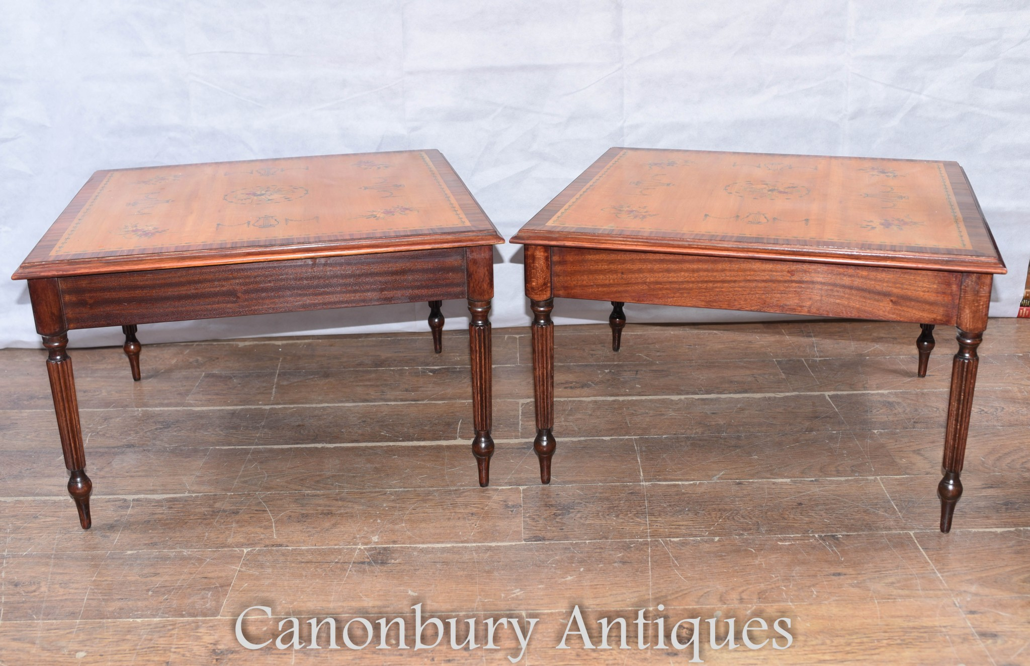 Pair Sheraton Satinwood Side Tables Painted Floral Motifs