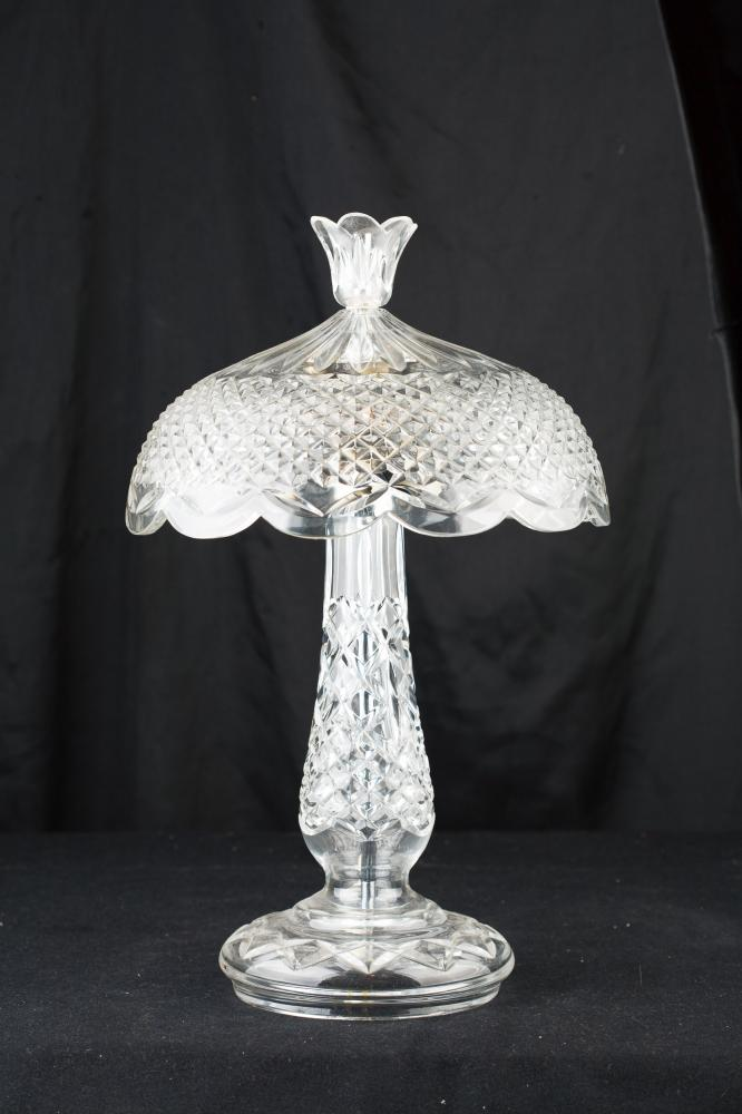 Continental Kitchen Cabinets Crystal Cut Glass French Art Nouveau Table Lamp Light