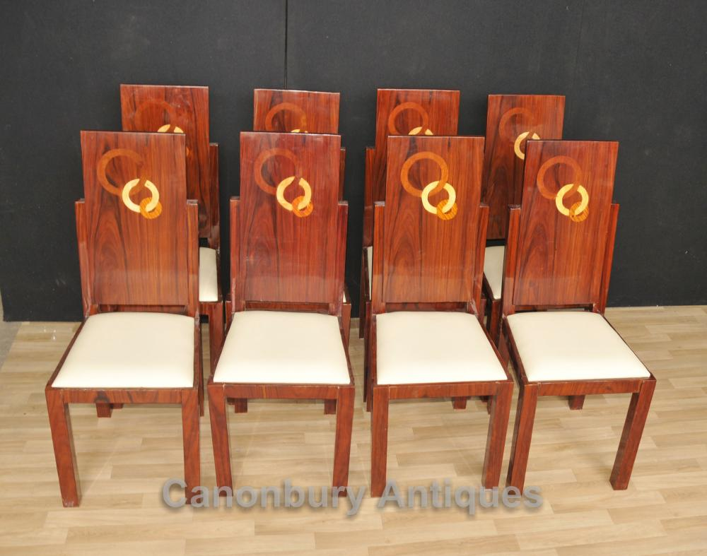 Esszimmer Stühle Art Deco Set 8 Art Deco Dining Chairs Rosewood Seats Marquetry Inlay