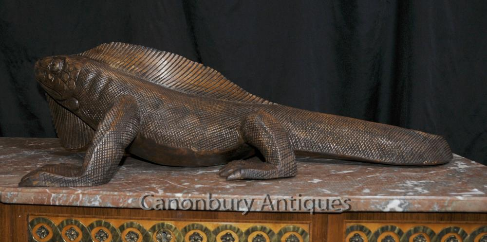Continental Kitchen Cabinets Hand Carved Komodo Dragon Statue Reptile Wood Animal