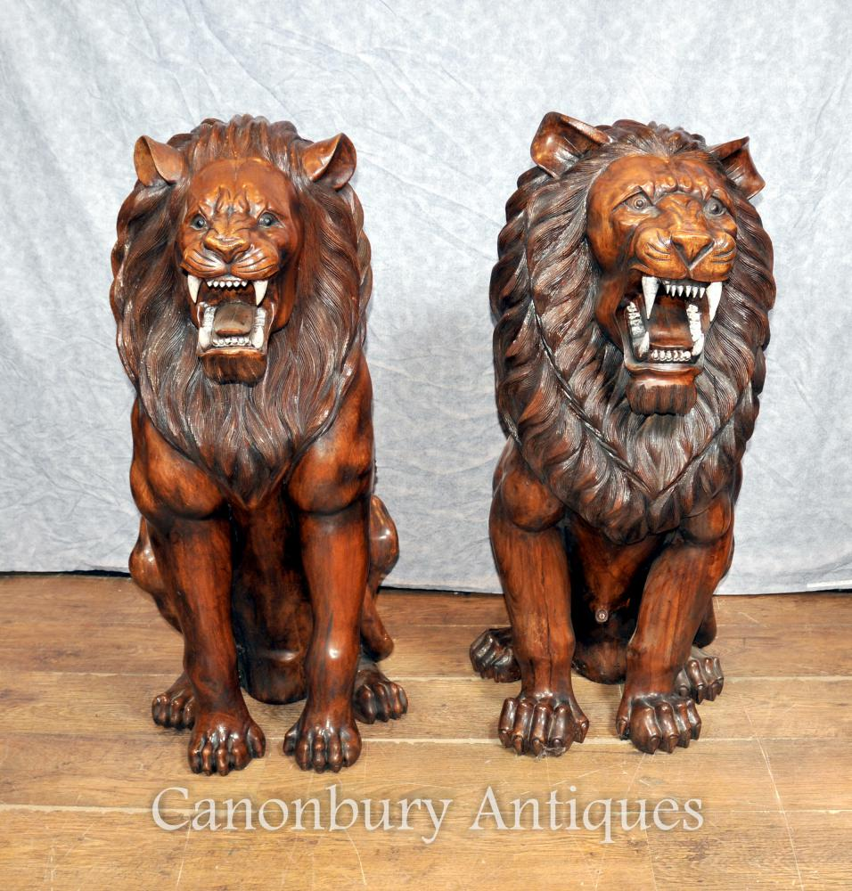 Art Deco Garden Furniture Uk Pair Lifesize Hand Carved Wood African Lion Gatekeepers