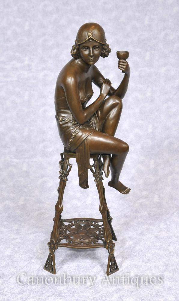 French Villa Art Deco Bronze Stool Girl Flapper Signed Je Mic French