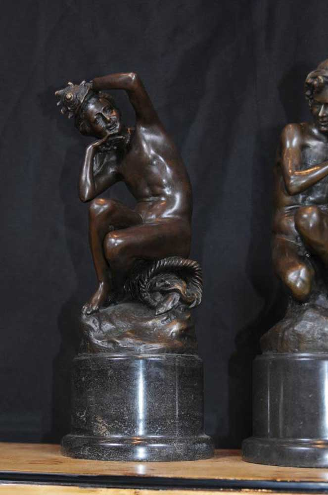 Continental Kitchen Cabinets Pair French Bronze Nude Figurines Male Female Conch Mermaid