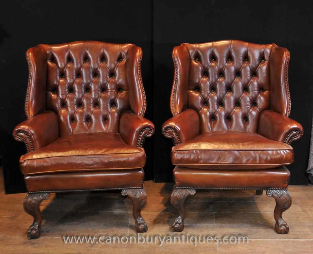 Chesterfield Sessel Pair Antike Englische Außenbahn Chesterfield Sessel Ledersessel