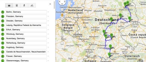 Mapa com roteiro de carro pela Alemanha