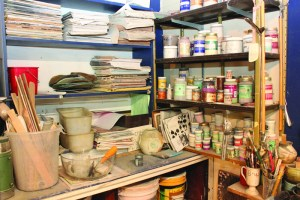 Supplies are plentiful and the workspaces frequently used in Ameen's Wheel Works Art Studio in Bainbridge Township.