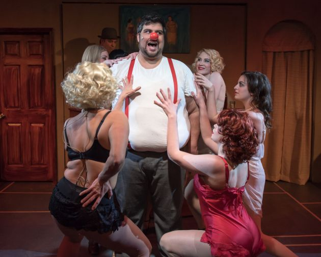 """Patrick Ciamacco, center, as the brutal vaudevillian clown Burrs in Blank Canvas' """"The Wild Party"""". Photo 